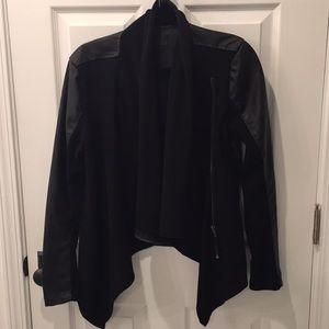 Mixed media leather jacket